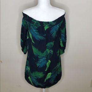 Off the Shoulder Blue navy dress with leaf print